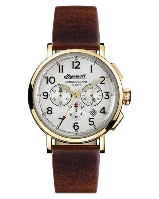 INGERSOLL WATCHES | Metallic Ingersoll St. John Chronograph Leather Strap Watch for Men | Lyst