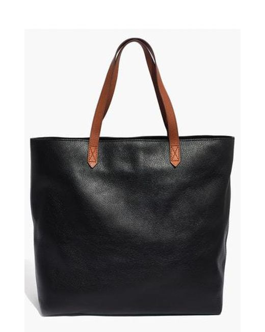Madewell - Black Zip Top Transport Leather Tote - Lyst