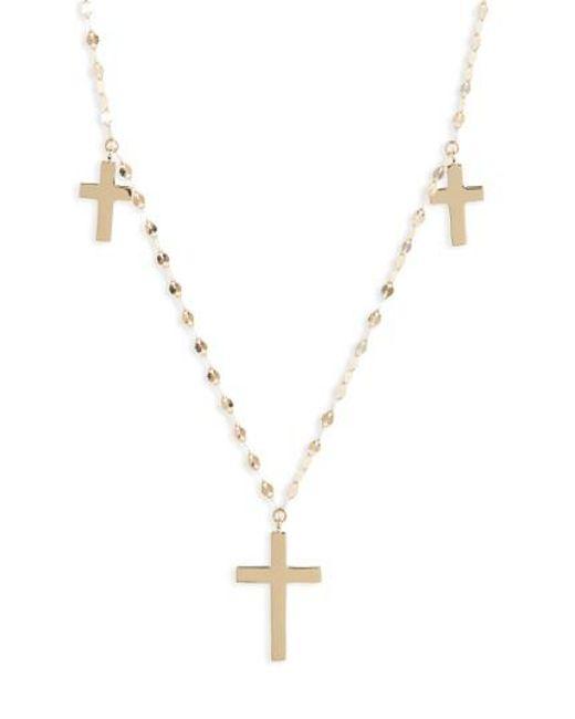 Lana Jewelry Triple Cross Necklace in 14K Gold 8S7N7gBZ