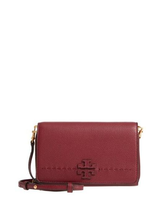 Tory Burch | Red Mcgraw Leather Crossbody Wallet | Lyst