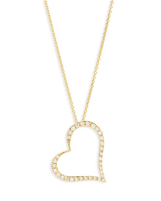 Roberto Coin - Metallic Slanted Diamond Heart Pendant Necklace - Lyst