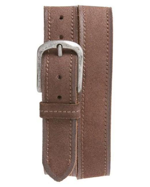 John Varvatos - Brown Suede Belt for Men - Lyst