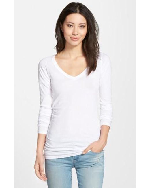 Lamade   White Long V-neck Cotton Tee   Lyst