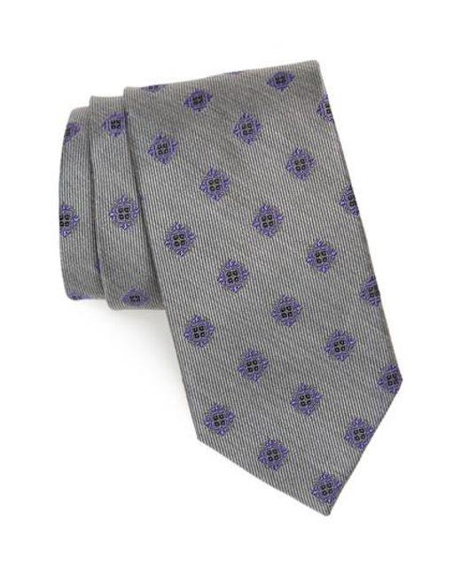 David Donahue   Gray Medallion Silk Tie for Men   Lyst