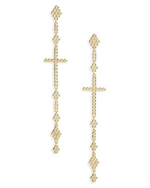 Melinda Maria | Metallic Linear Cross Earrings | Lyst