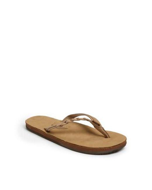 Rainbow Sandals - Brown 'flirty' Braided Leather Flip Flop - Lyst