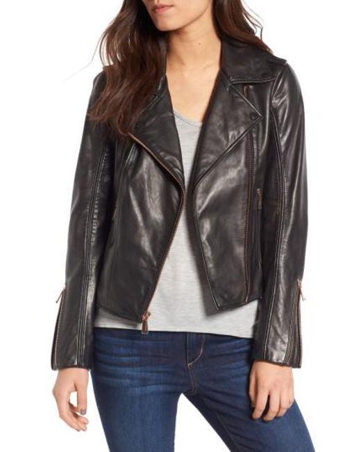 Bcbgeneration Lambskin Leather Moto Jacket in Black | Lyst