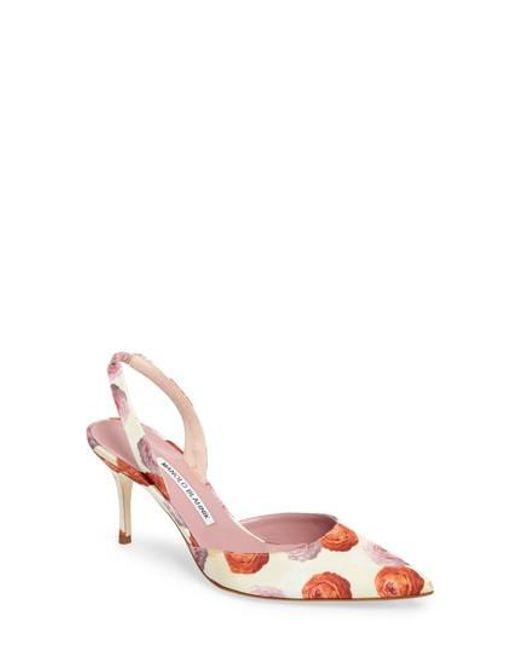 Manolo Blahnik | Pink 'carolyne' Pointy Toe Slingback Pump | Lyst