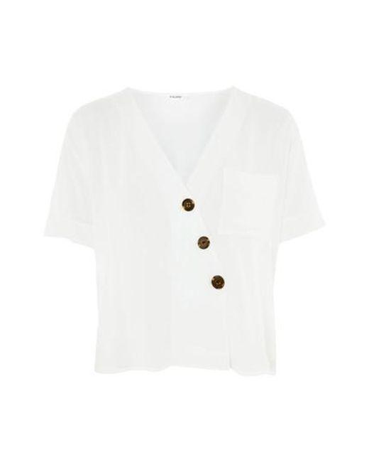 TOPSHOP - White Asymmetrical Button Top - Lyst