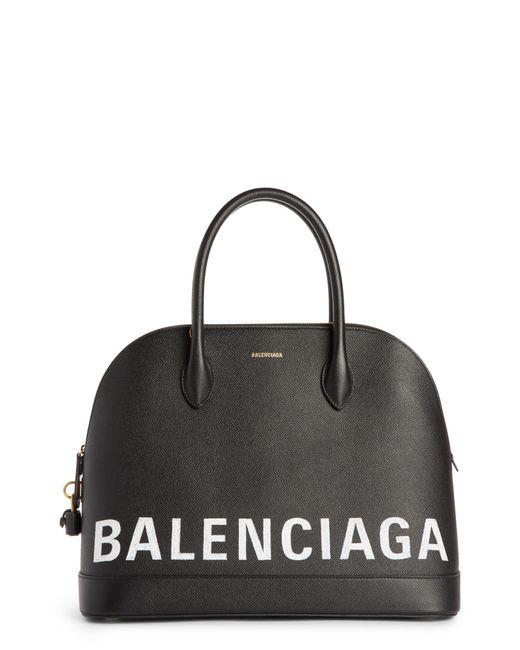 Balenciaga - Black Ville Logo Leather Satchel - - Lyst