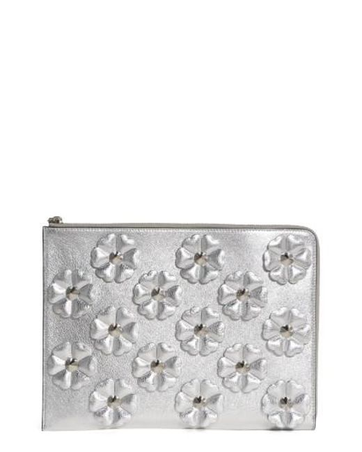 Fendi | Studded Flowers Calfskin Clutch - Metallic | Lyst