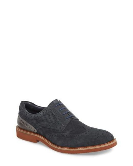 Kenneth Cole - Blue Shaw Perforated Wingtip Derby for Men - Lyst