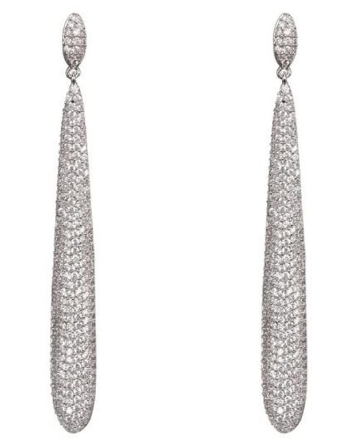 Nina - Multicolor Skinny Teardrop Pave Earrings - Lyst