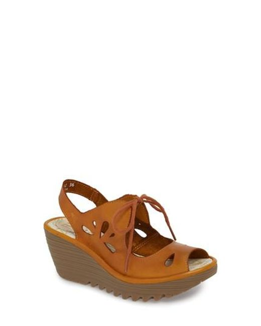 Fly London - Brown Yend Platform Wedge Sandal - Lyst