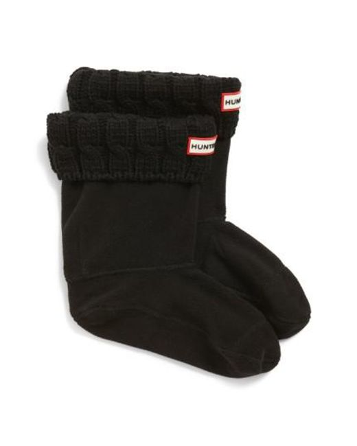 Hunter | Black Original Short Cable Knit Cuff Welly Boot Socks | Lyst