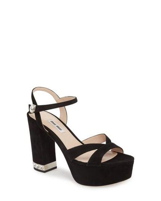 Miu Miu - Black Jeweled Heel Platform Sandal - Lyst