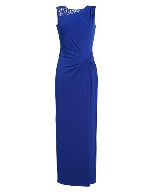Ellen Tracy | Blue Lace-Inset Twist-Front Gown | Lyst