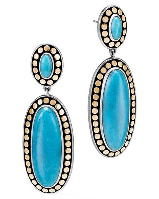 John Hardy | Blue Dot Oval Drop Earrings | Lyst