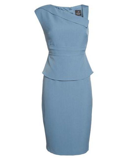 Adrianna Papell | Blue Crepe Sheath Dress | Lyst