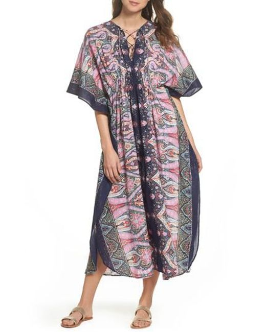 Echo - Blue Sea Fan Paisley Cover-up Caftan - Lyst