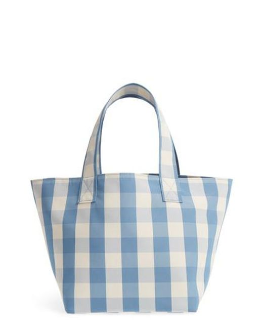 blue and white gingham grocery small tote bag Trademark Outlet Recommend HHo63cfseB