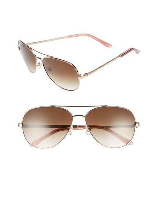 Kate Spade - Pink 'avaline' 58mm Aviator Sunglasses - Lyst