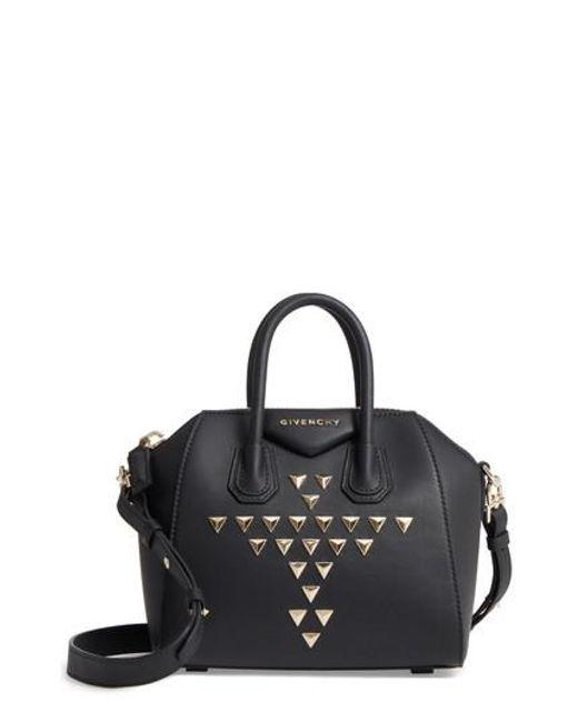 Givenchy   Black Mini Antigona Triangle Stud Calfskin Leather Satchel   Lyst
