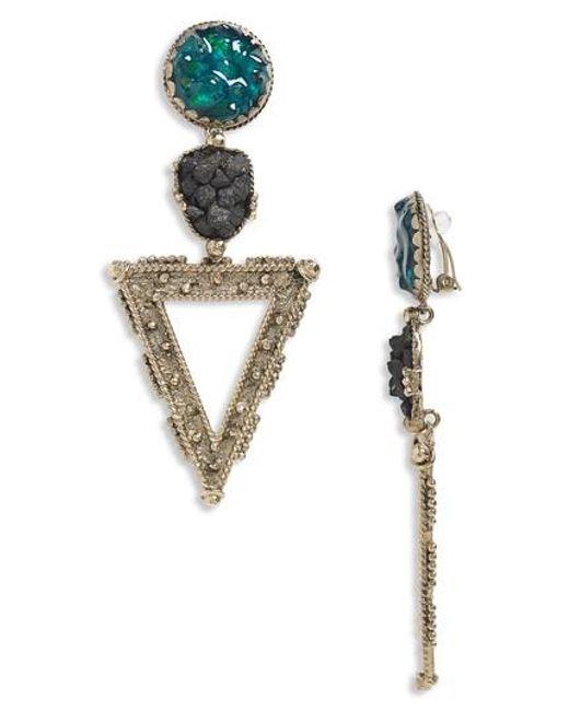 Saint Laurent - Metallic Triangle Clip-on Earrings - Lyst
