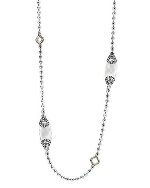 Lagos | White 'caviar Color' Long Semiprecious Stone Station Necklace | Lyst