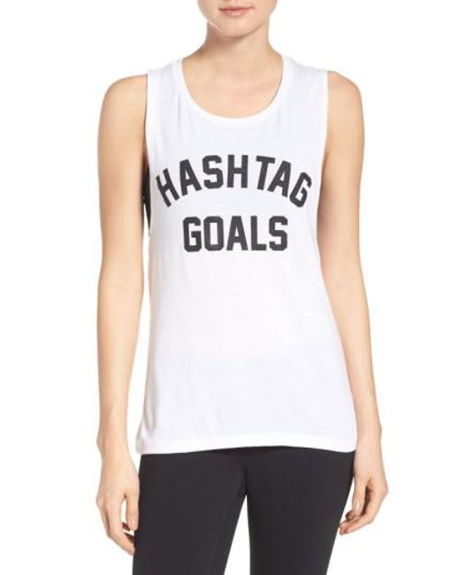 Private Party | White Hashtag Goals Tank | Lyst
