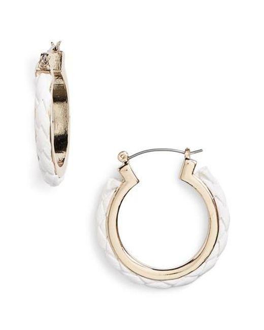 TOPSHOP - White Fabric Plait Hoop Earrings - Lyst