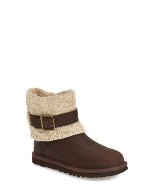 Ugg | Brown Cassidee Cable-Knit Wool Boots | Lyst