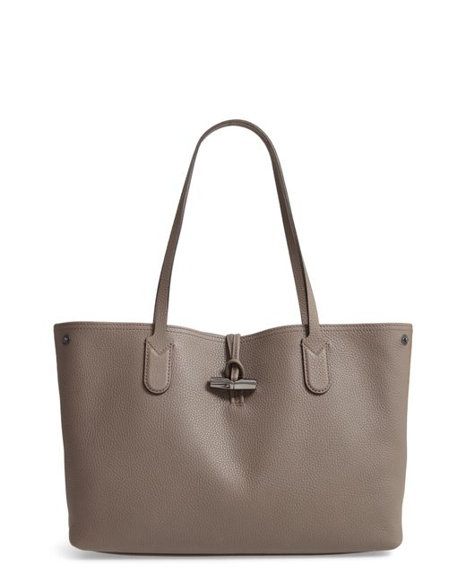 8b8fe3832abb Lyst - Longchamp Roseau Essential Mid Leather Tote in Gray