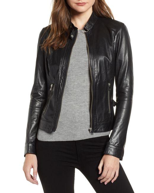 Lamarque - Black Lambskin Leather Biker Jacket - Lyst