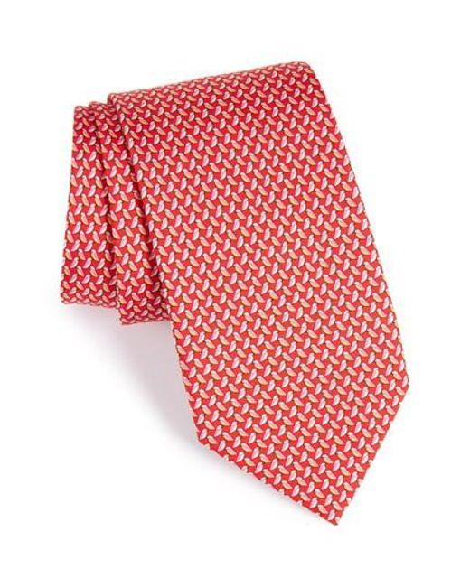 Ferragamo | Red Bird Print Silk Tie for Men | Lyst