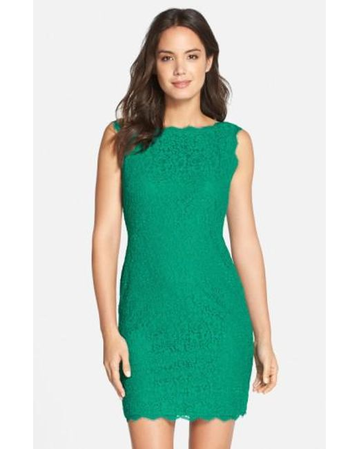 Adrianna Papell | Green Boatneck Lace Sheath Dress | Lyst