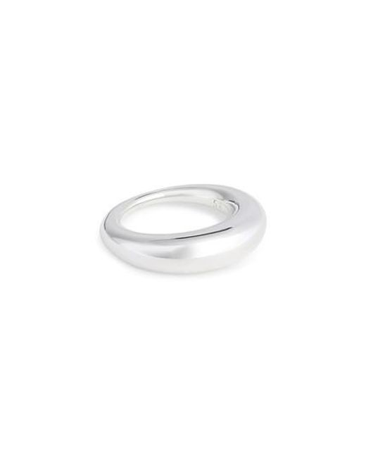 All_blues | Metallic Fat Snake Polished Silver Ring | Lyst