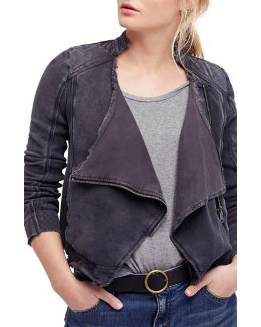 Free People - Black Shrunken Moto Jacket - Lyst