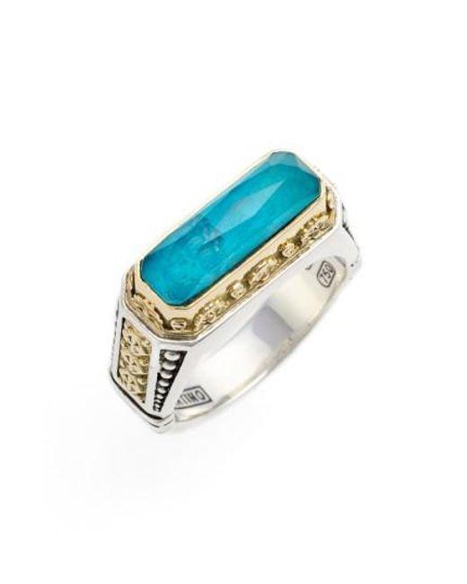 Konstantino | Blue 'iliada' Etched Ring | Lyst