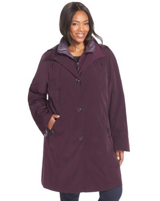 Gallery | Purple Two-tone Long Silk Look Raincoat | Lyst