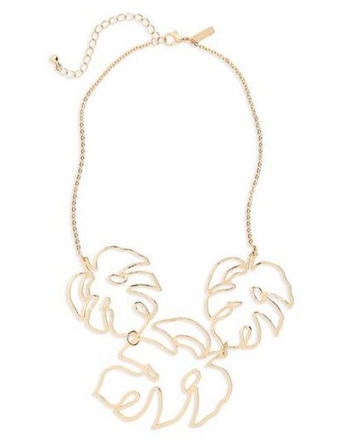 TOPSHOP - Metallic Cutout Leaf Collar Necklace - Lyst