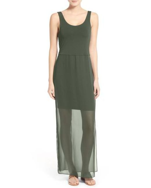 Vince Camuto | Green Overlay Chiffon Maxi Dress | Lyst