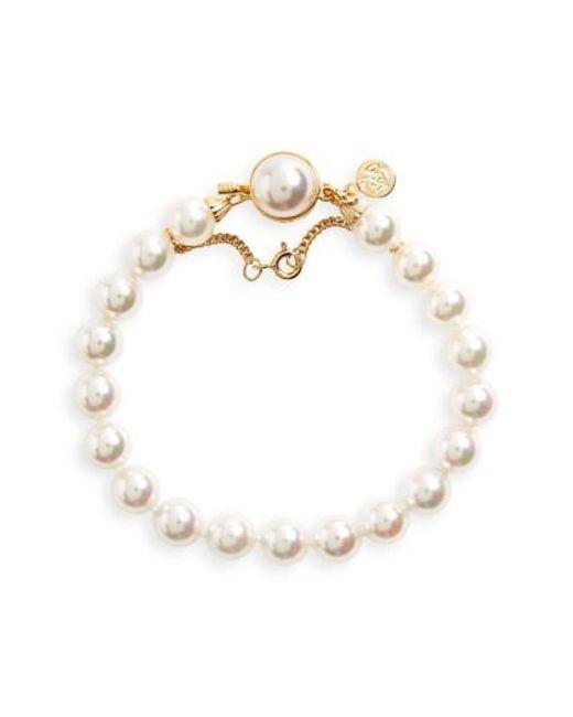 Majorica - White 8mm Single Row Pearl Bracelet - Lyst