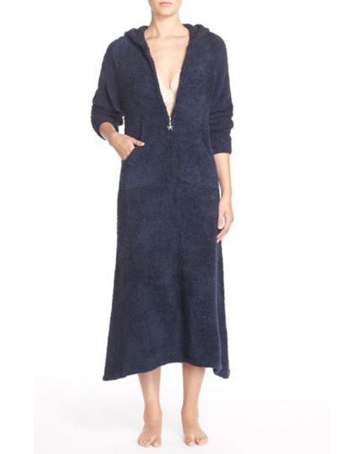 Barefoot Dreams - Blue Barefoot Dreams Cozychic Hooded Zip Robe - Lyst