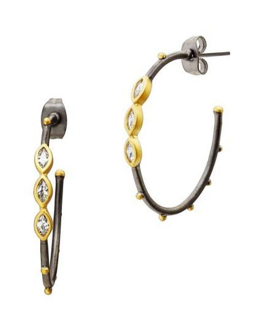 Freida Rothman | Metallic Marquise Station Hoop Earrings | Lyst