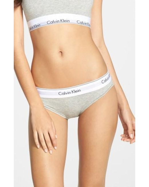 Calvin Klein | Gray 'modern Cotton Collection' Cotton Blend Bikini | Lyst