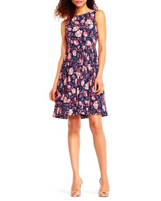 Adrianna Papell | Multicolor Fit & Flare Dress | Lyst