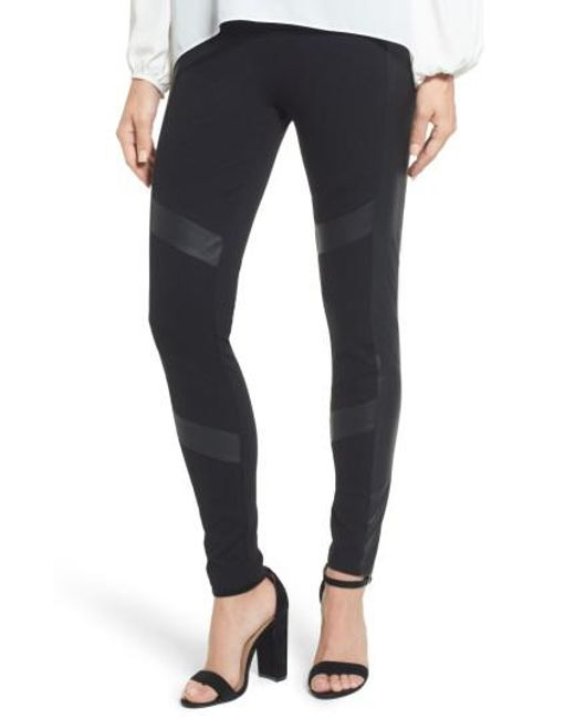 Two By Vince Camuto | Black Faux Leather Chevron Panel Ponte Leggings | Lyst