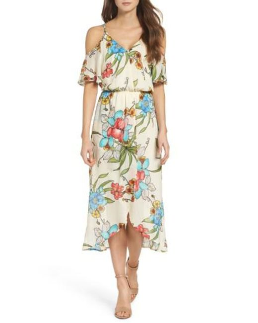 Fraiche By J - Multicolor Cold Shoulder Maxi Dress - Lyst