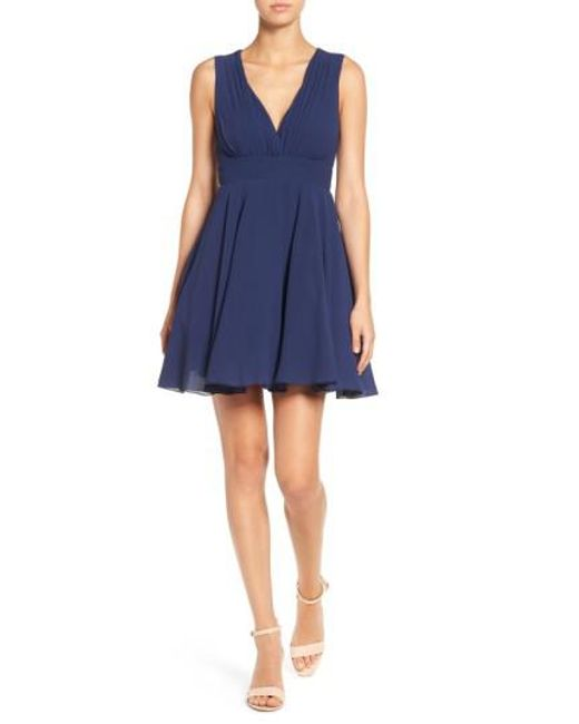 TFNC London   Blue V-neck Fit & Flare Dress   Lyst
